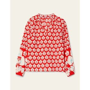 Boden Heather Top In Red Floral Lightweight Cotton